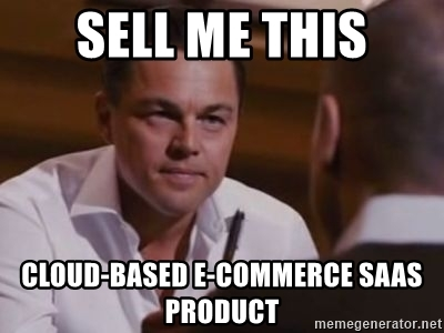 Leonardo Di Caprio asking someone to sell him a SaaS solution