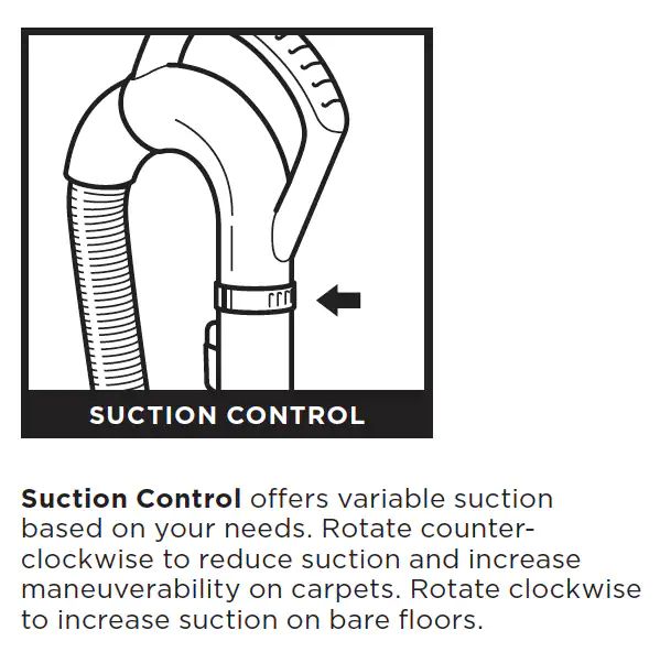 How and when do I adjust the suction of Shark NV356E?