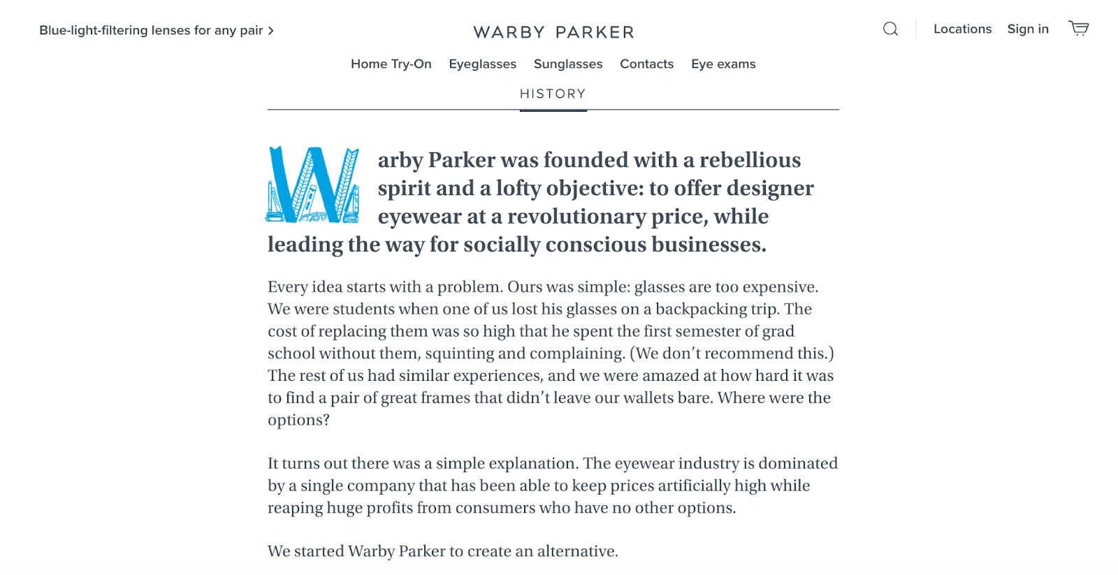 Warby Parker Mission Statement