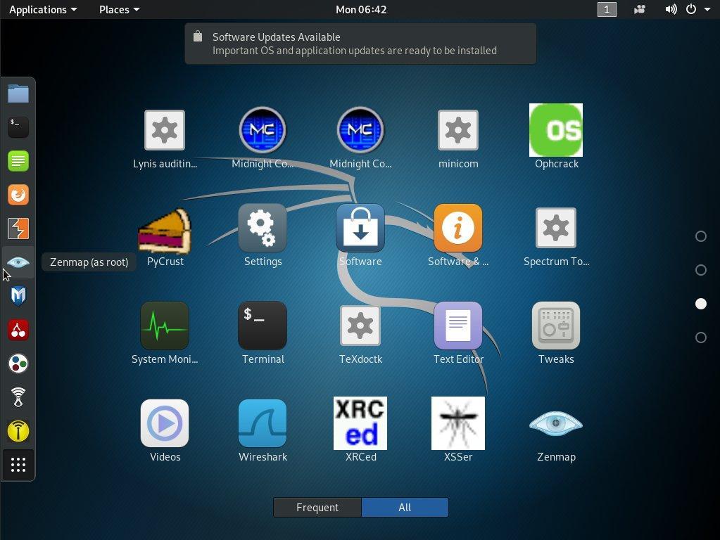 Kali Linux (Gnome 3 desktop environment)