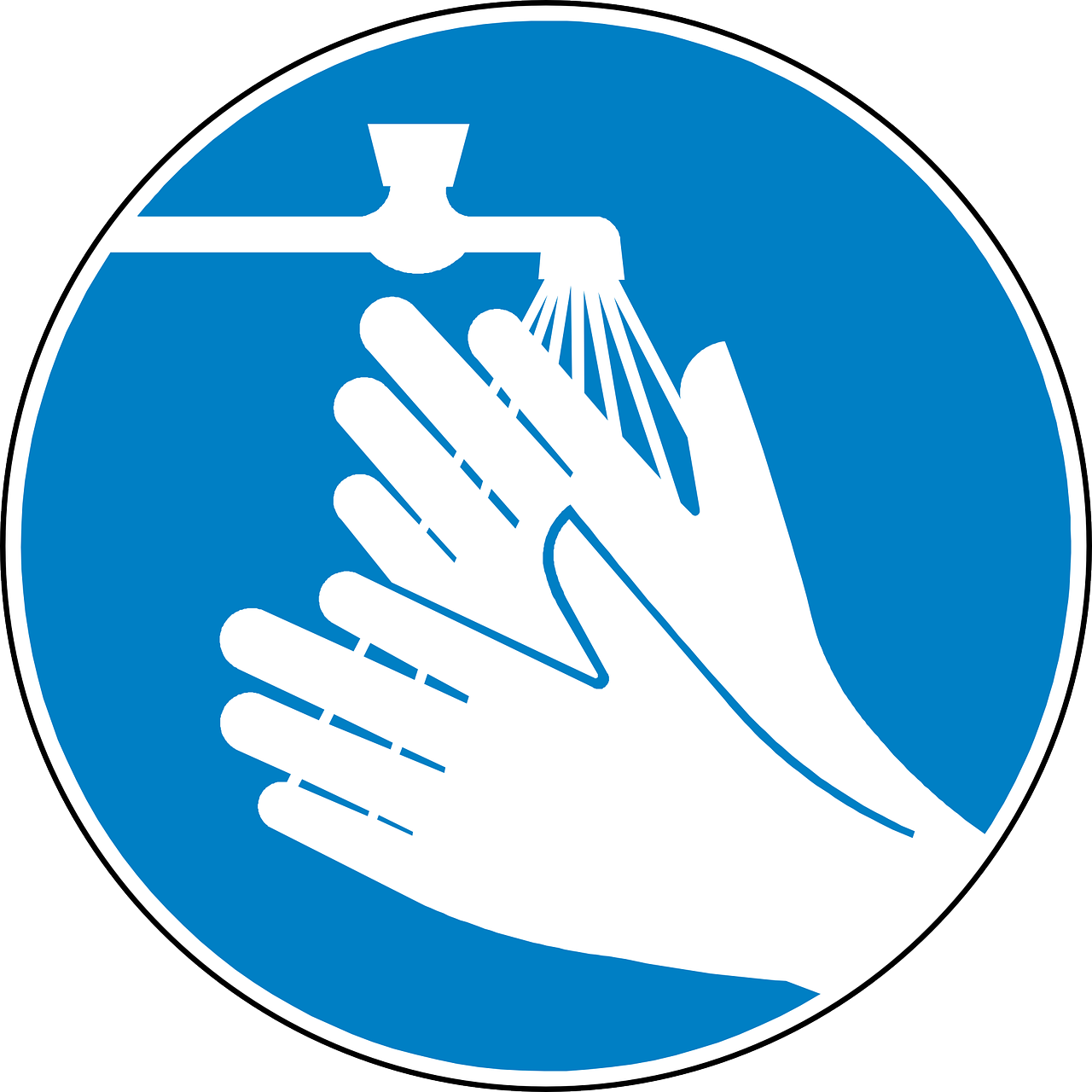 Symbol of hands under a water faucet