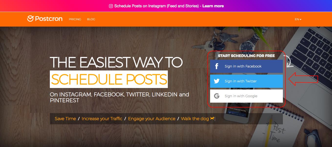 Postcron homepage