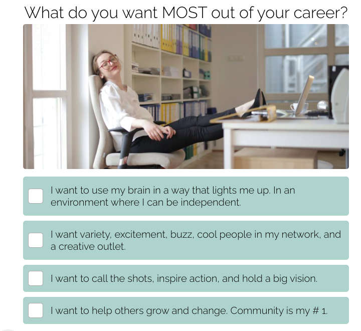 what do you want most out of your career quiz question