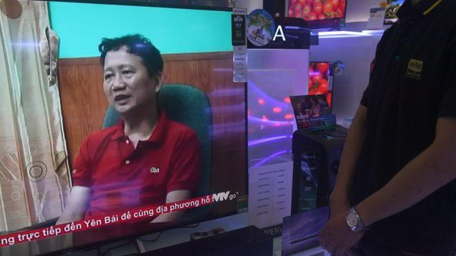 Ông Trịnh Xuân Thanh xuất hiện trong đoạn phim chiếu trong chương trình thời sự của VTV tối 3/8