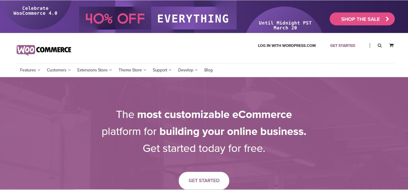 WooCommerce's landing page.