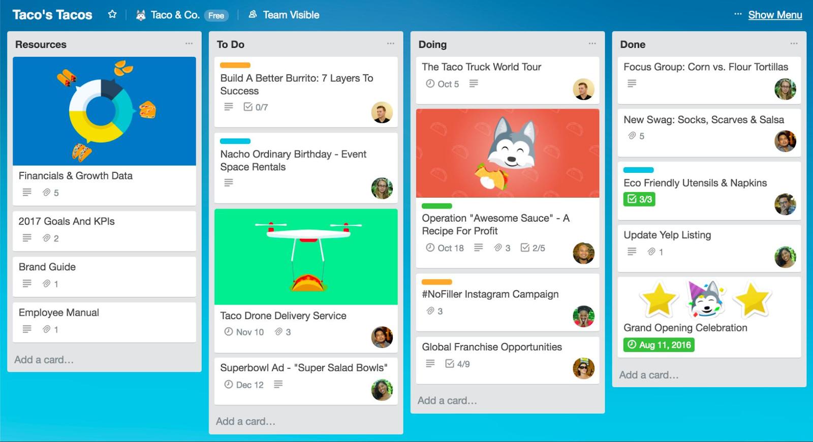A screenshot of Trello app