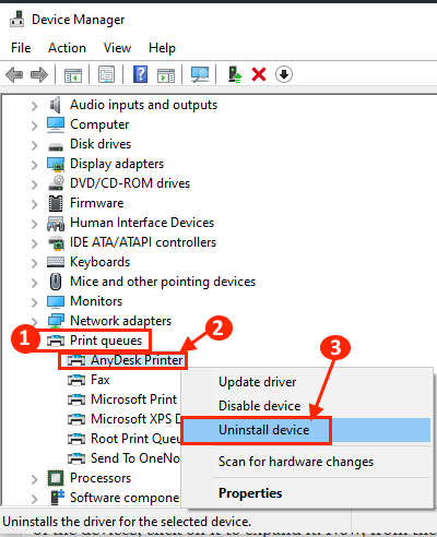 Uninstall and Reinstall printer device