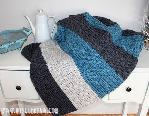 color blocked stripes easy crochet blanket pattern