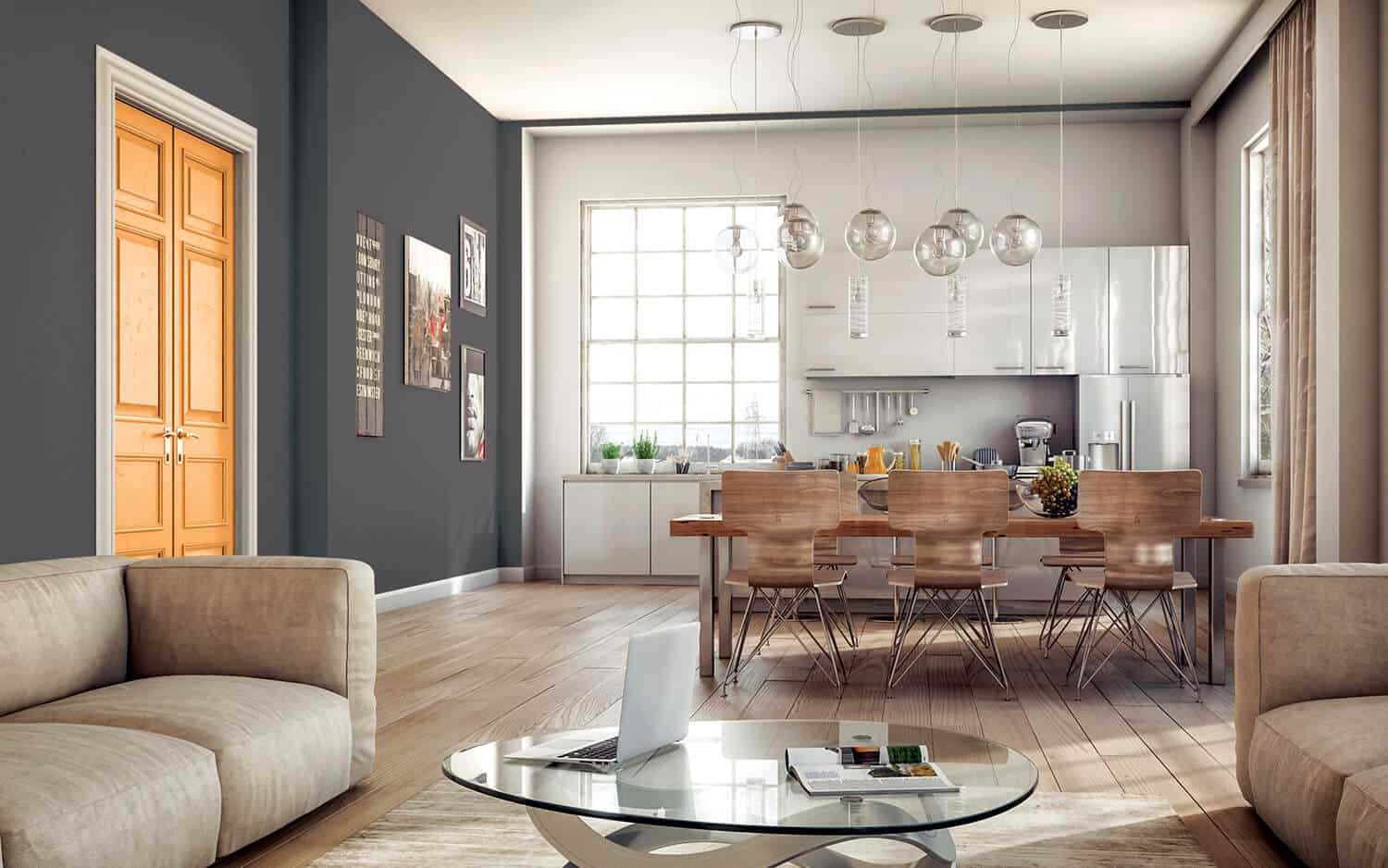 white and grey walls create color balance of room's walls