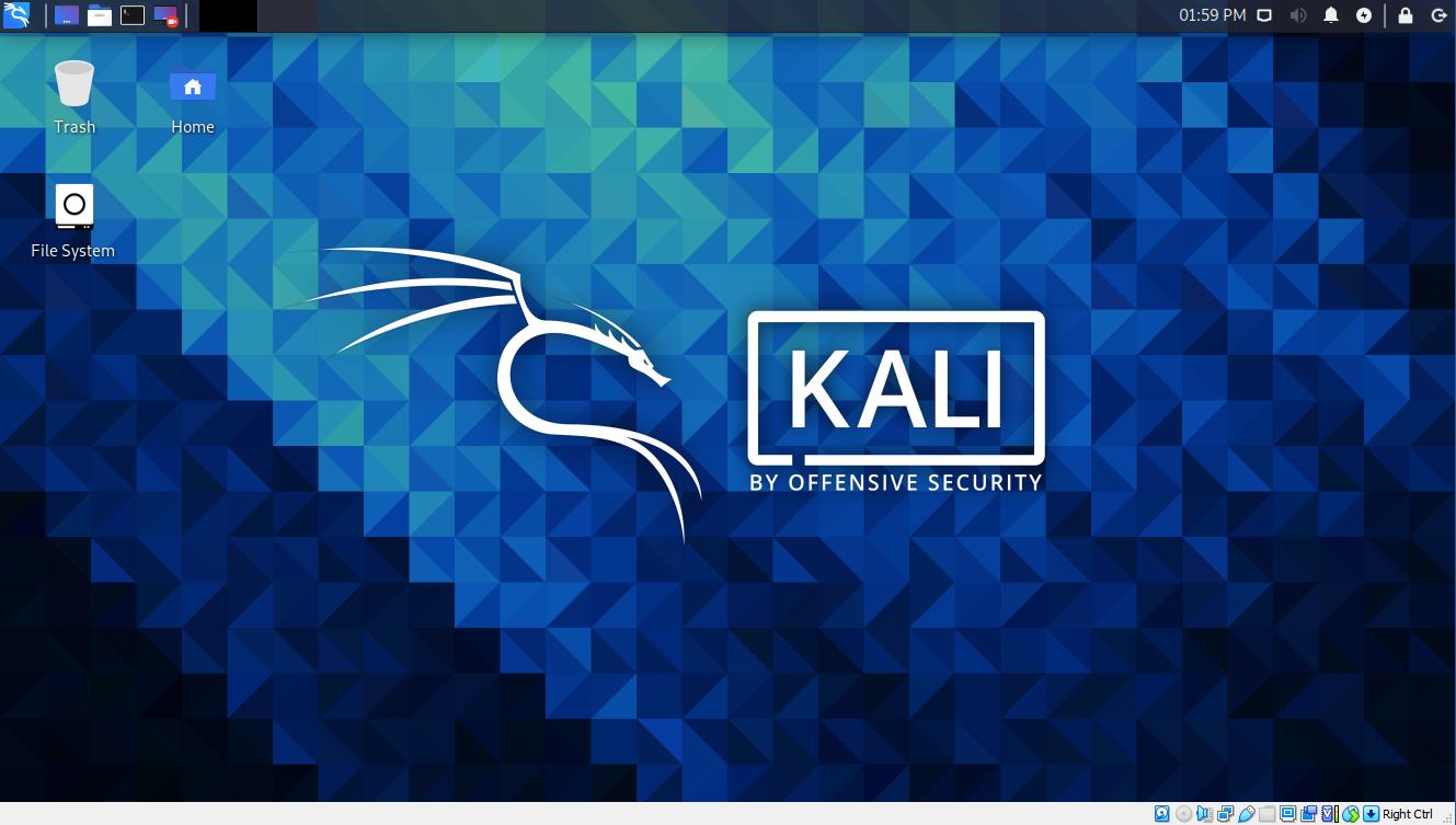Virtual Hacking Lab. Kali Linux Desktop interface. Source: nudesystems.com