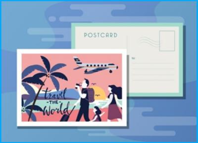 create postcard using illustrator