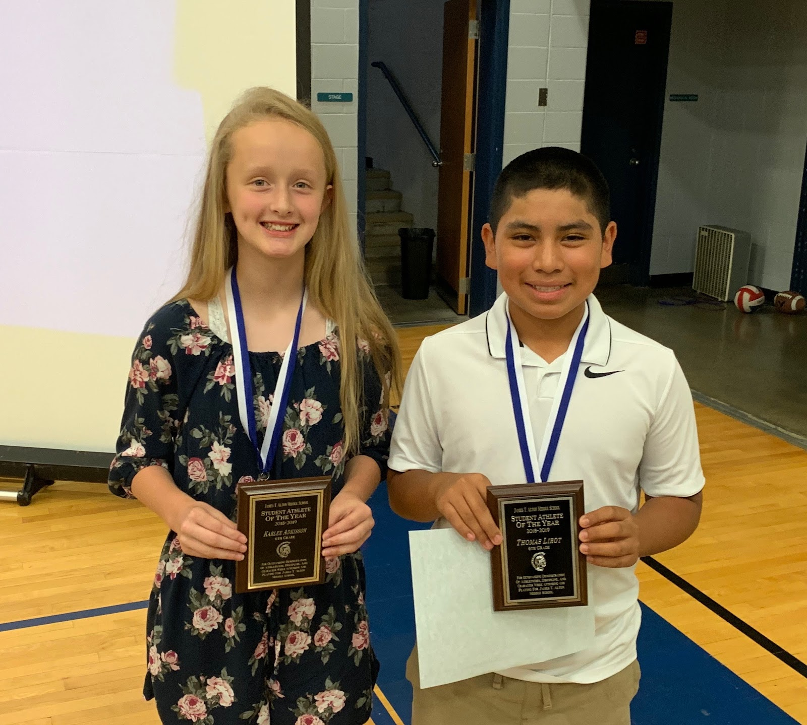 Karlee Adkisson & Thomas Lirot, 6th Grade Student Athletes of the Year