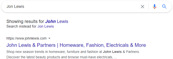 John Lewis Search Results
