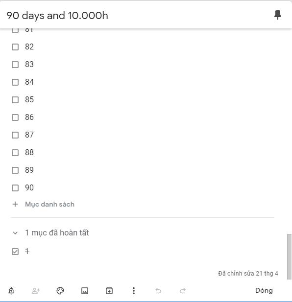 lên list thực hiện liên tục 90 ngày