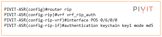 configuration command when configuring rip authentication keychain from pivit global