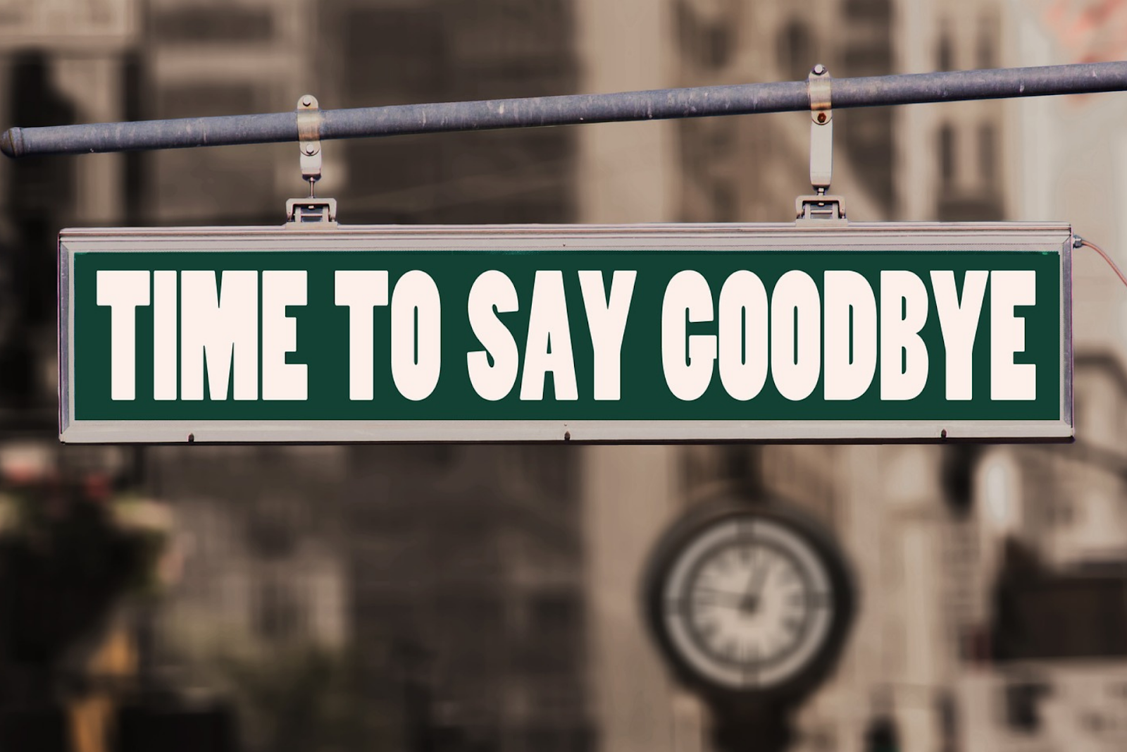 Street sign that says goodbye
