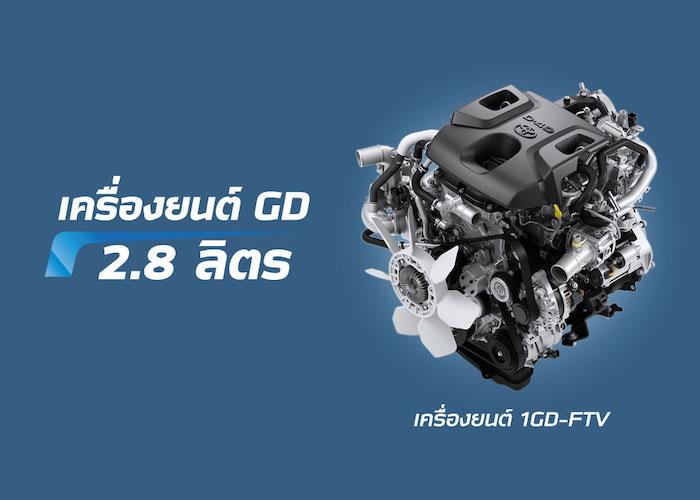 เครื่องยนต์ดีเซลบล็อคใหม่รหัส 1GD-FTV ขนาด 2.8 ลิตร