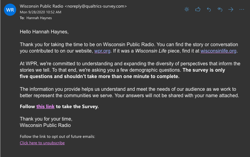 Email from Wisconsin Public Radio to Hannah Haynes