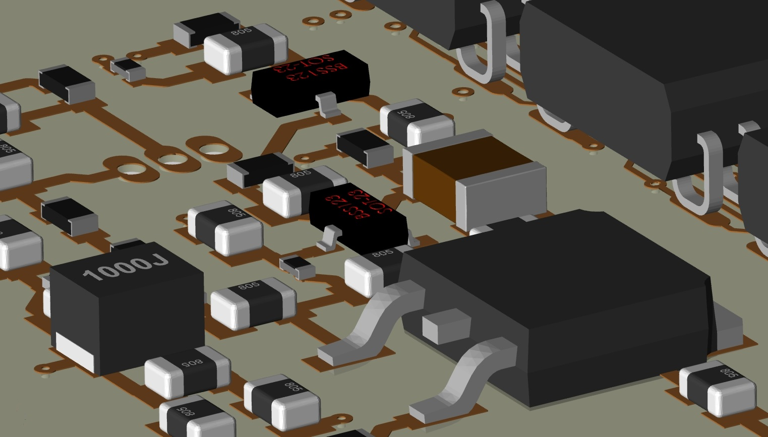 3D rendering of surface mount power components on a printed circuit board