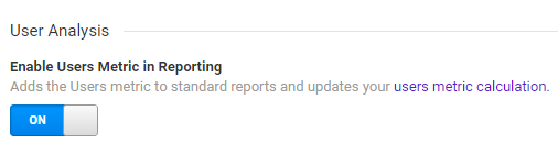 Enable users metric in reporting button