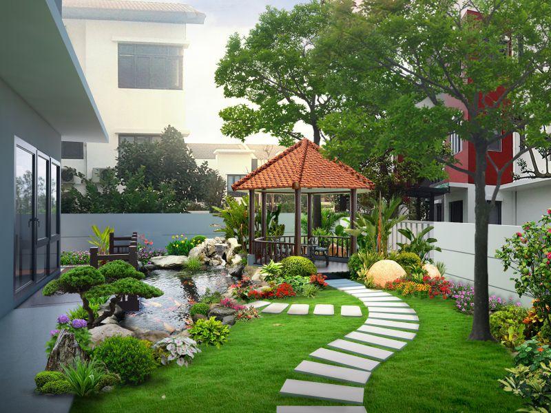Thiết kế ngoại thất sân vườn hợp phong thủy