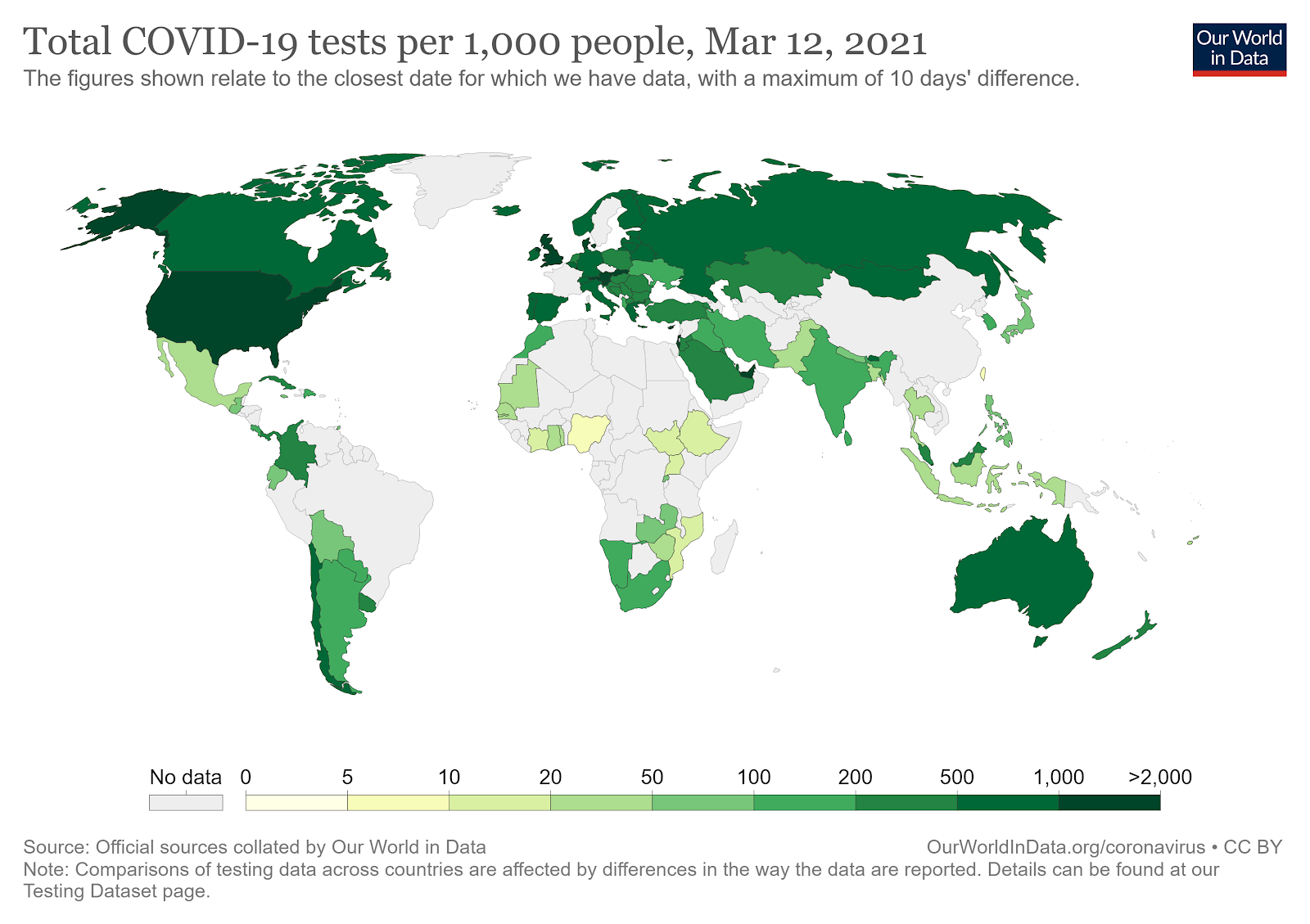 Estados Unidos e Reino Unido têm maiores índices de testes a cada mil habitantes. (Fonte: Our World in Data/Reprodução)
