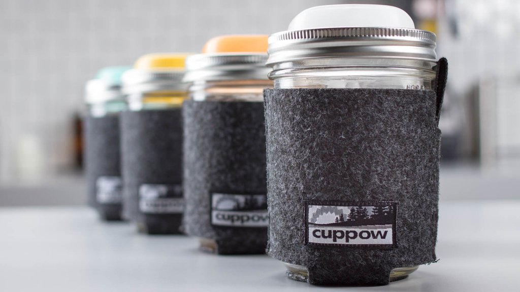 Image of reusable lids on mason jars from Cuppow