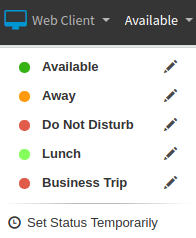 """Set Status"" menu options in 3CX Web Client"