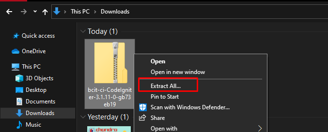 Extract All file CodeIgniter