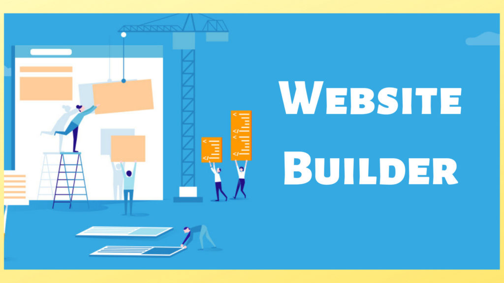 website builder people carrying block elements of a website