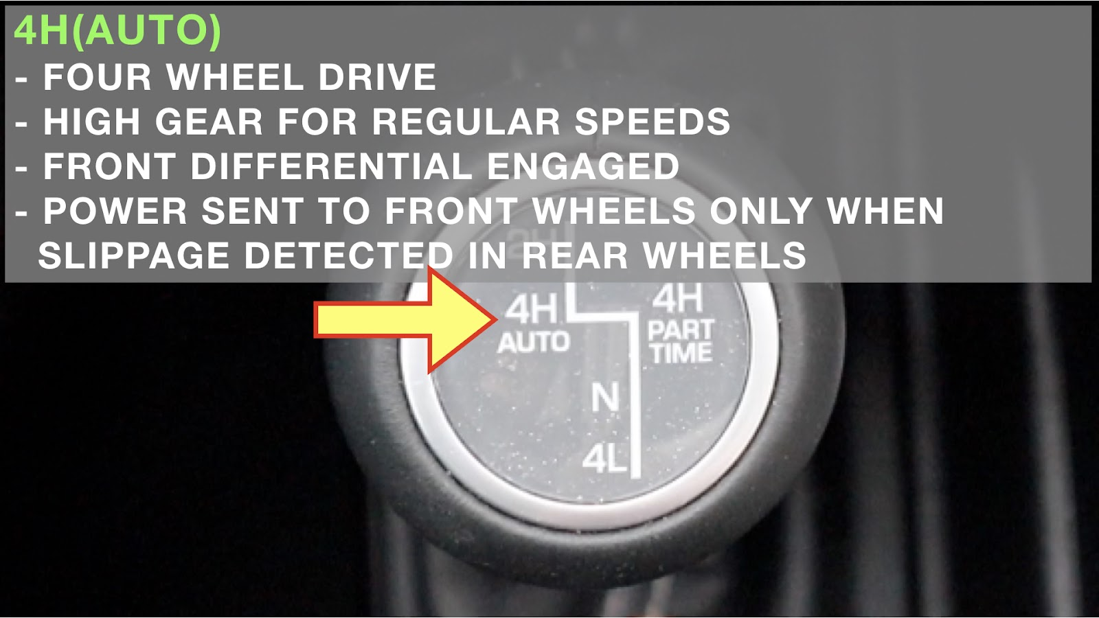 Image showing the 4H(Auto) setting when using 4wd in a Jeep Wrangler