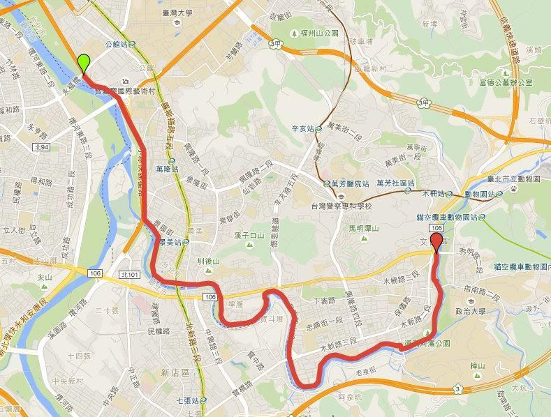 路線為臺北市永福橋下景福站至動物園前萬壽橋來回(約15公里)