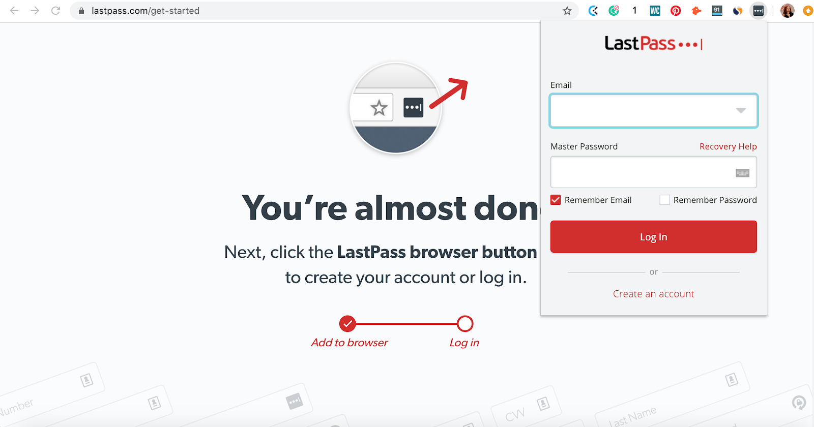 How to log in to your LastPass password manager in Chrome browser extension. Part of the article by Hana Clode Marketing 'LastPass Password Manager - Apps to Make Your Life Easier'.