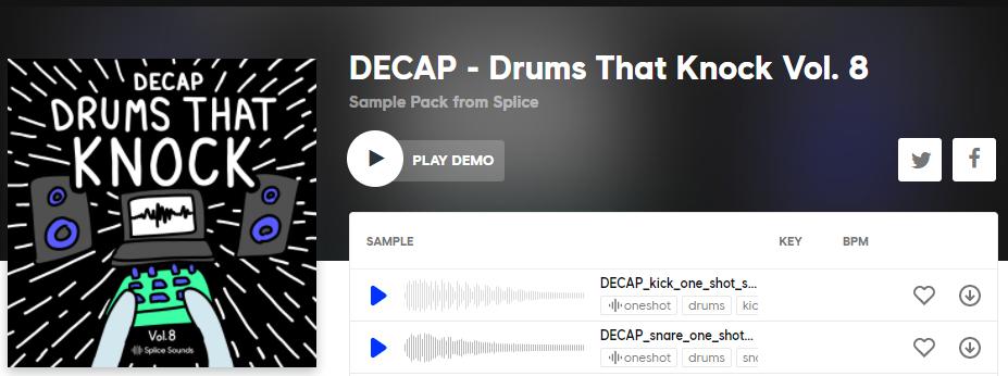 splice decap drums that knock samples