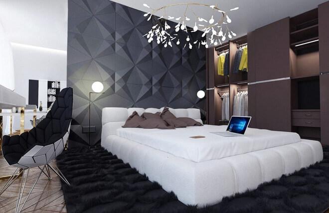 Phòng ngủ màu xám trắng 4