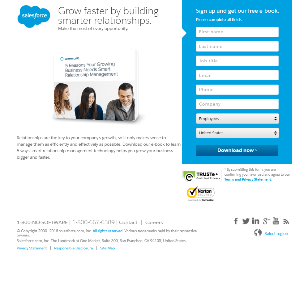 Great landing pages Salesforce