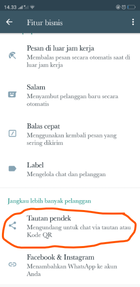Fitur Shortlink pada WhatsApp Business