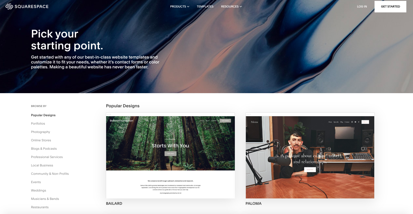 Squarespace's website template page