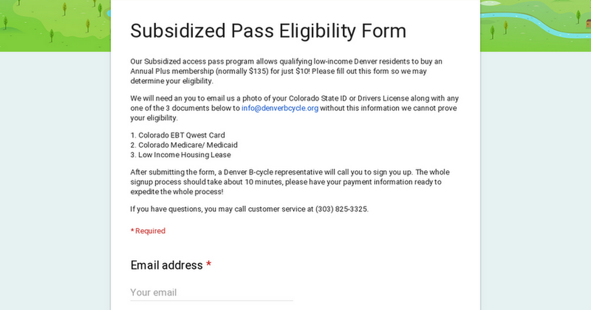 Subsidized Pass Eligibility Form