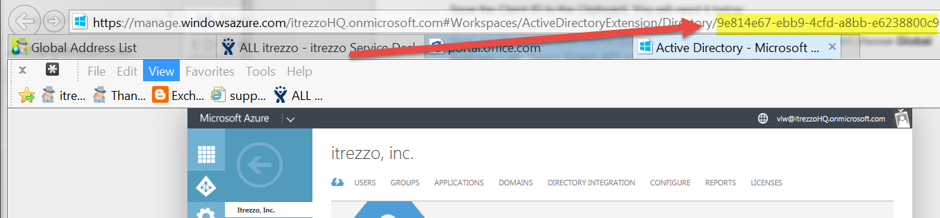 How to get the Tenant ID from the Azure Management Console URL