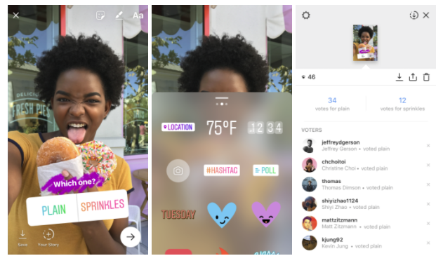 Instagram stories polls feature for social media questions example