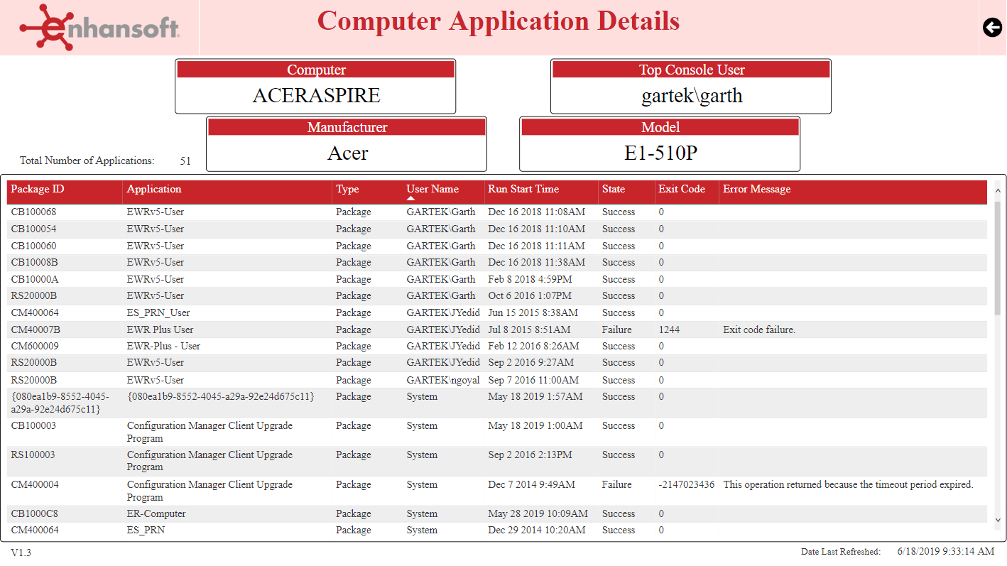 Computer Application Details Page