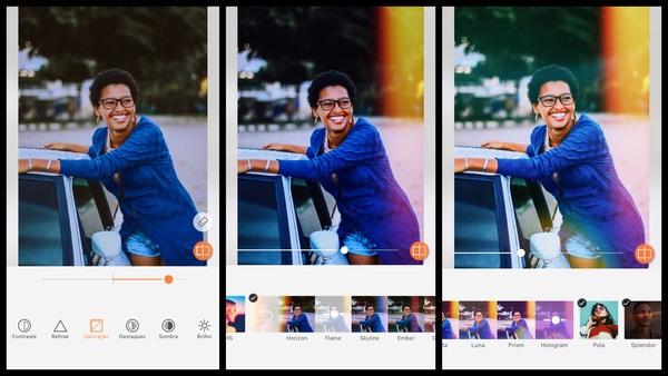 Tutorial de edição de uma foto de uma mulher negra posando ao lado do carro usando as ferramentas do AirBrush