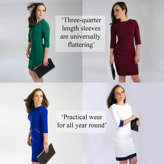 three quarter length sleeves for women dresses petite