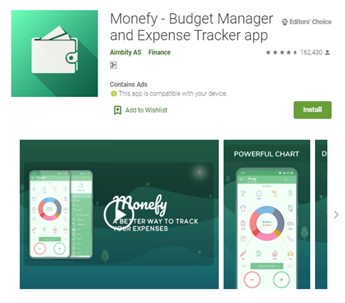 Mobile app type - Finance - Monefy