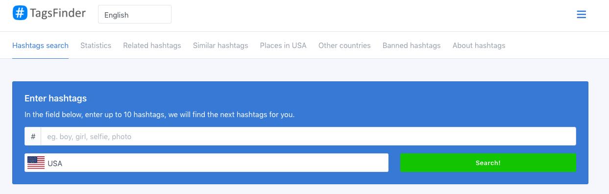 TagsFinder Hashtag Generator Tool
