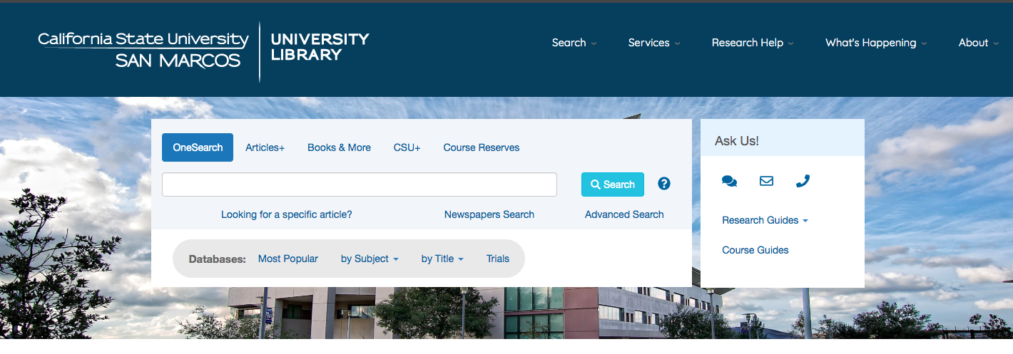 A screenshot of the CSUSM University Library homepage