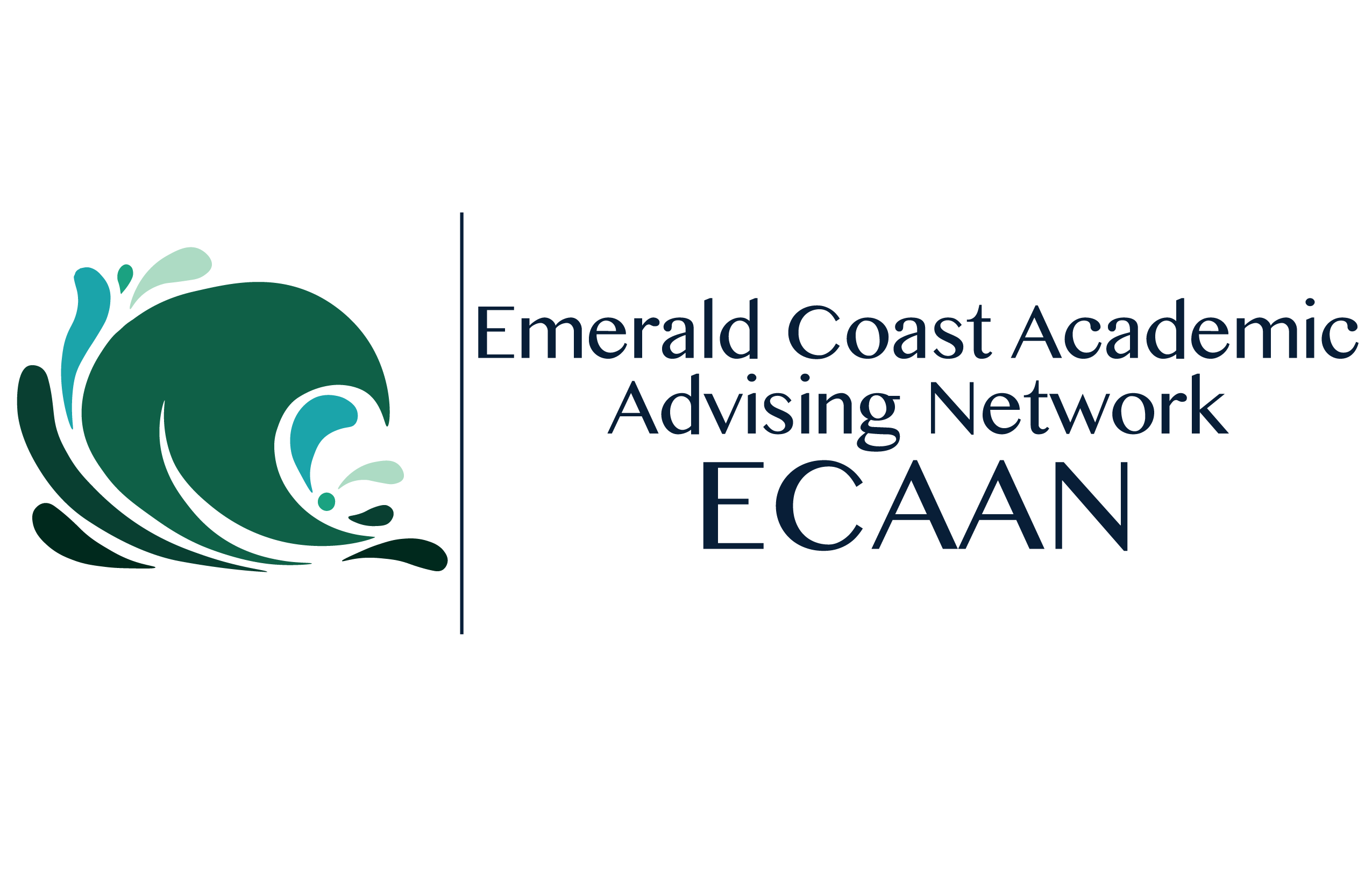 Organization logo which is a multicolored wave and the words Emerald Coast Academic Advising Network ECAAN
