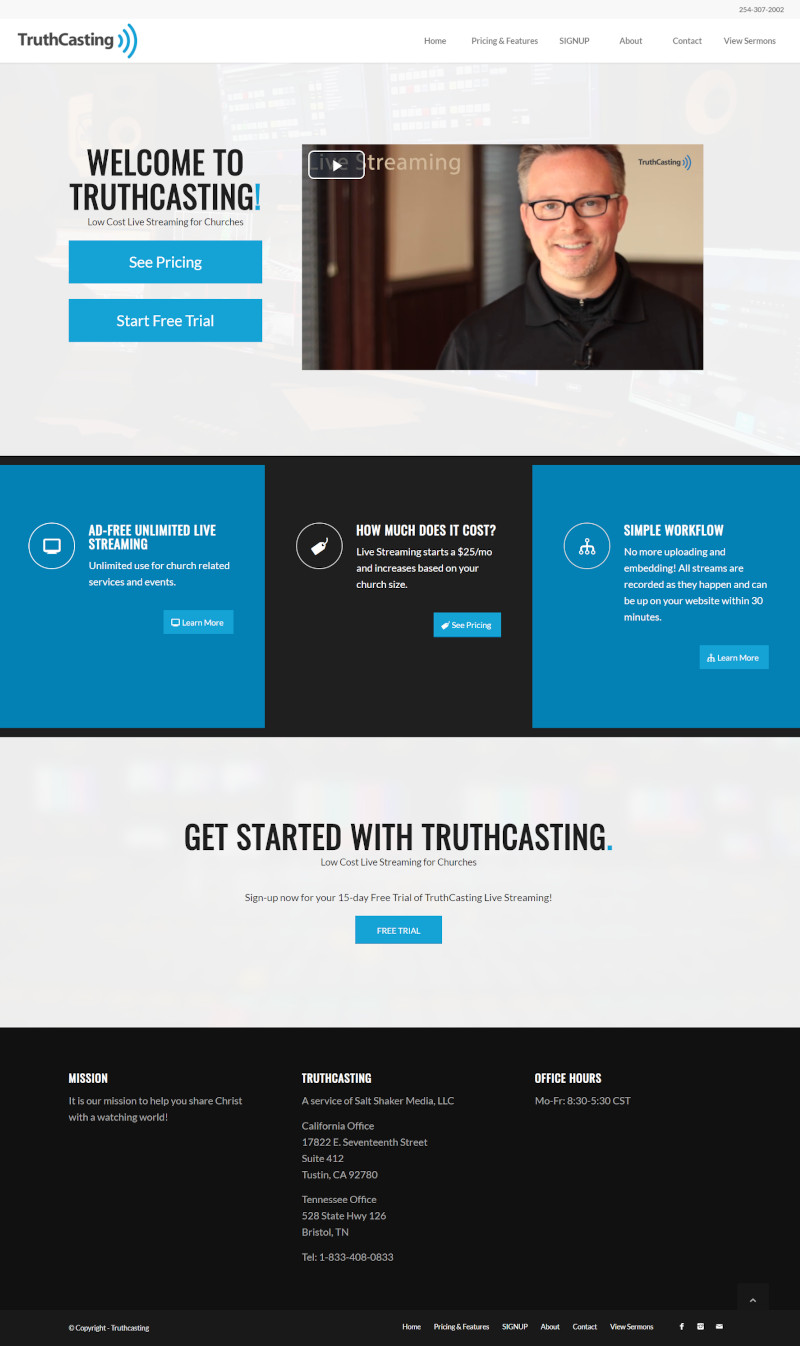 TruthCasting Website for Church Streaming Software Screenshot