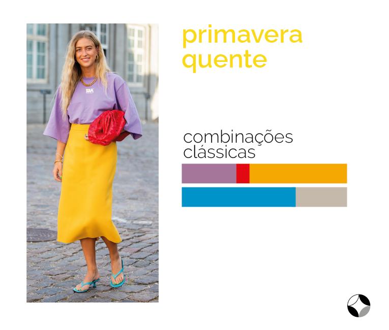 combinações clássicas de cores da primavera quente